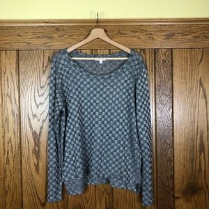 LNA Gray Checkered Long Sleeve Top